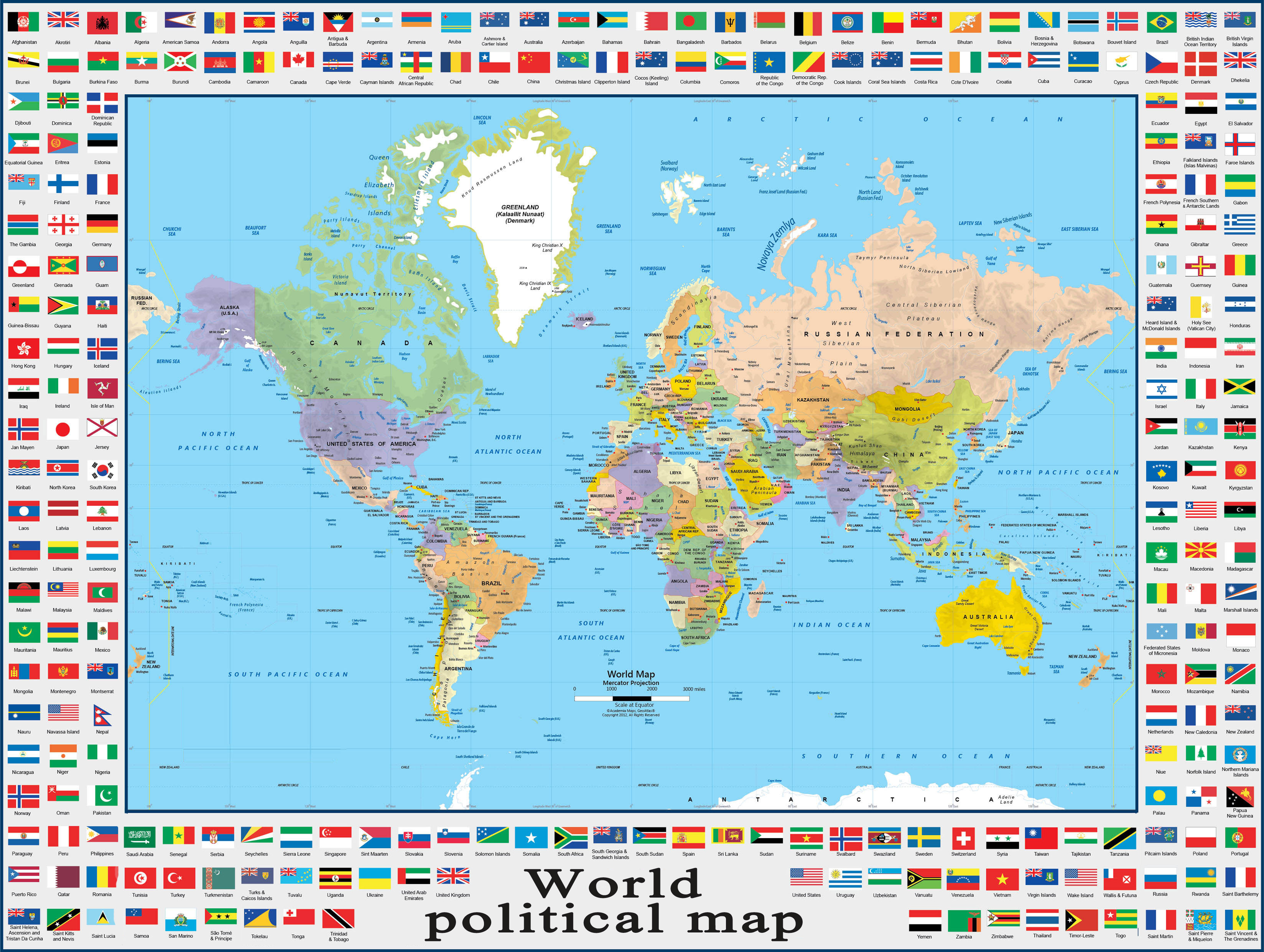 world map flags political